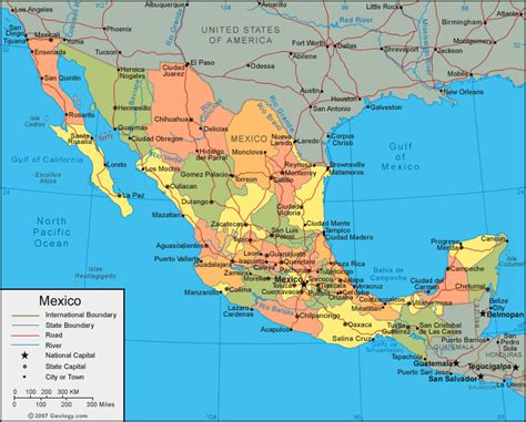 map of mexico and cities mexico map of cities geography map of mexico regional