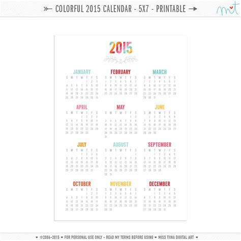 colorful calendar printables misstiinacom