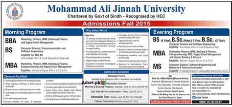 Mba Evening Program In Karachi by Admissions Open 2015 In Mohammad Ali Jinnah