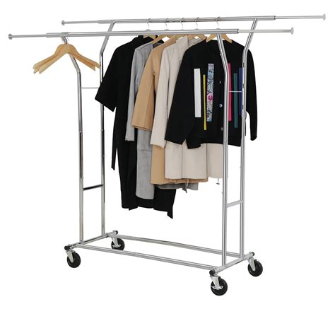 rolling adjustable chrome cloth garment rack rail