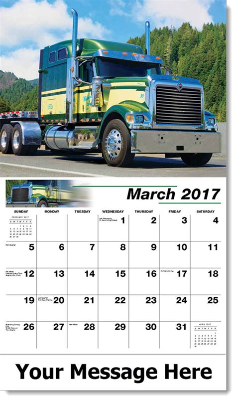 Promo Calendars Custom Big Rigs Promotional Wall Calendars