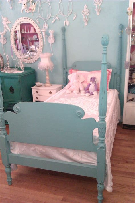 vintage twin bed custom order twin bed frame shabby antique chic aqua turquoise