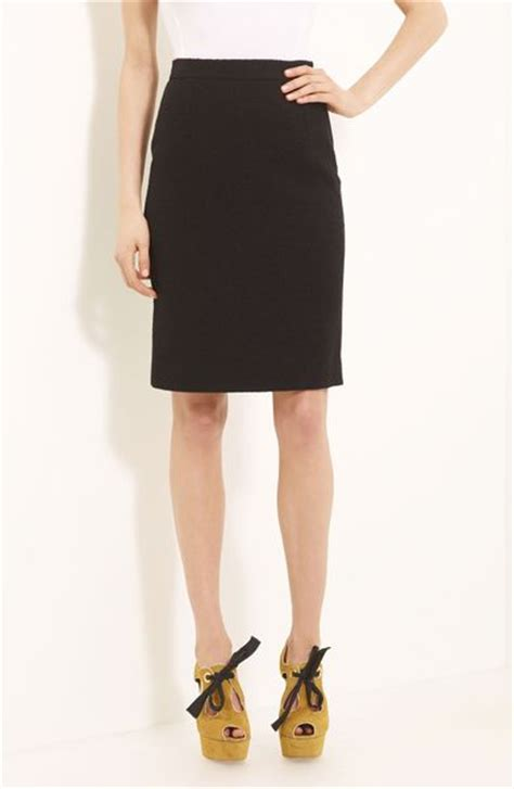 moschino cheap chic boucl 233 wool pencil skirt in black lyst