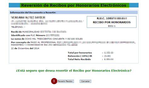 retencion del recibo por honorario 2016 reversi 243 n y correcci 243 n de recibo por honorario elctronico