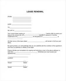 Renewal Of Lease Agreement Letter by Sle Apartment Lease Forms 7 Free Documents In Pdf Word