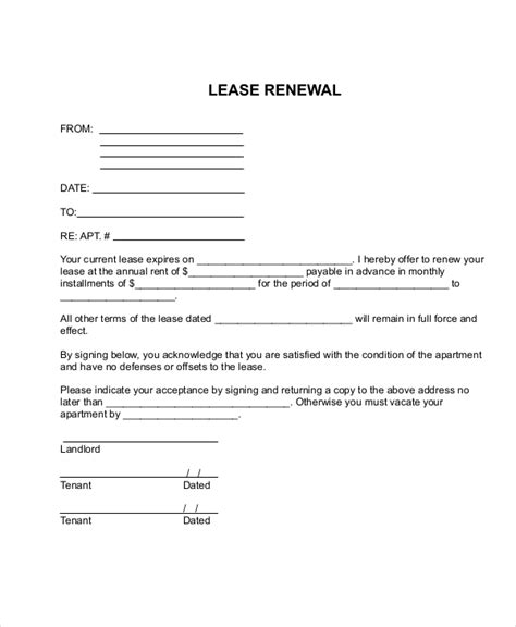 Lease Renewal Cover Letter Lease Renewal Form Rental Renewal Form Pdf Sle Rental Renewal Form 10 Free