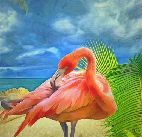 Pink Flamingo L by Pink Flamingo Painting By L Wright