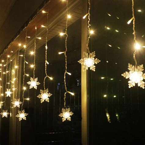3 8m Led Curtain Snowflake String Lights Led Fairy Lights String Lights Ceiling
