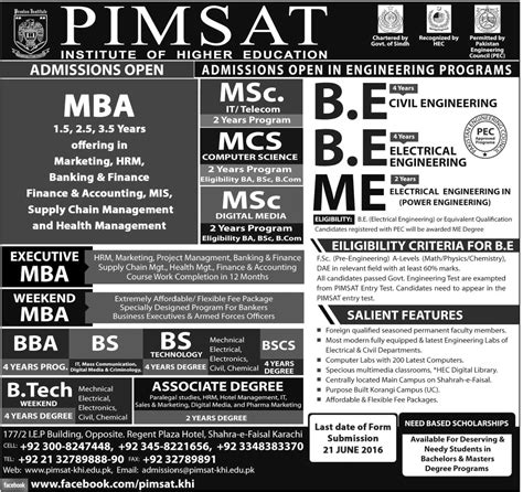 Mba Admission In Karachi 2016 by Pimsat Karachi Admission 2018 Registration Form
