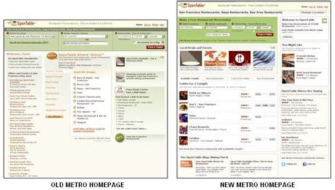 opentable introduces new metro home page with improved