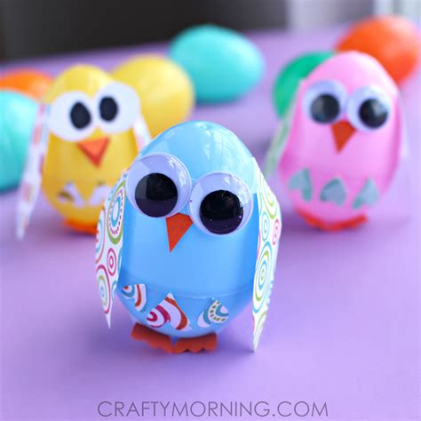 how to make easter eggs plastic easter egg owl craft for kids crafty morning