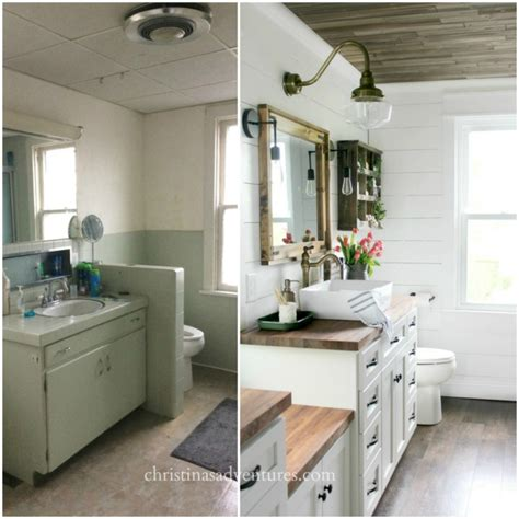 bathroom makeovers before and after vintage inspired farmhouse bathroom makeover christinas