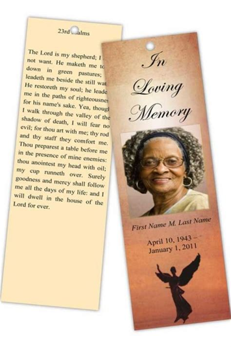 memorial bookmarks template free funeral program templates memorial bookmark template