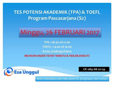 Taklukan Tpa Tes Potensi Akademik tes potensi akademik tpa toefl pascasarjana s2