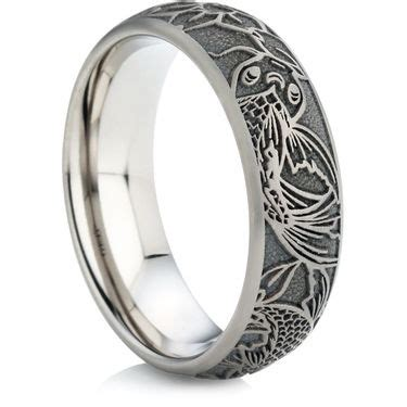 Wedding Rings Direct by Koi Carp Designed Laser Engraved Titanium Ring