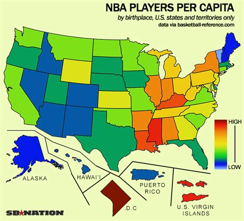 nba map this map shows which states produce the most nba players sbnation
