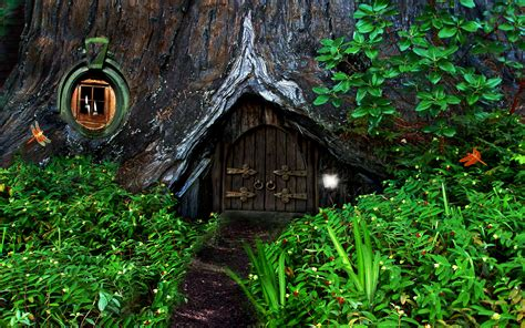 hobbit house in the forest hd bakgrund and bakgrund
