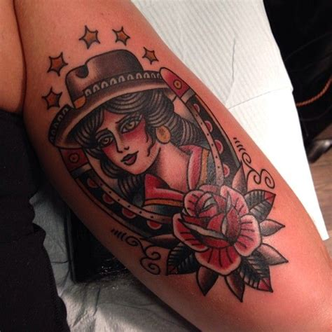 cowgirl pinup tattoos gastowntattoo traditional cowboy