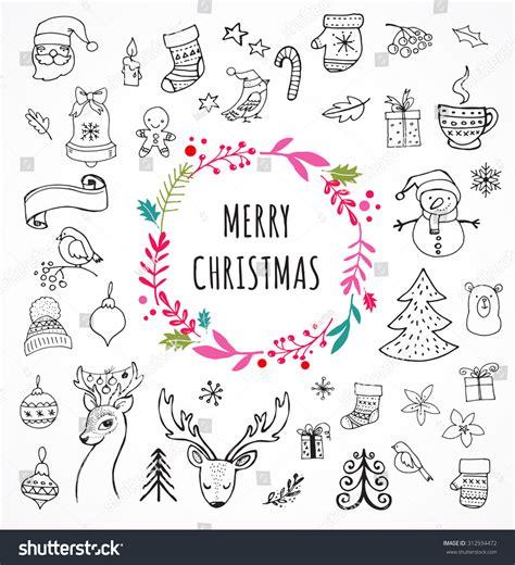 doodle merry merry doodle symbols stock vector