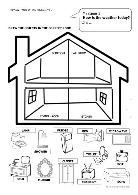 my house printable activities house and furniture worksheet free esl printable