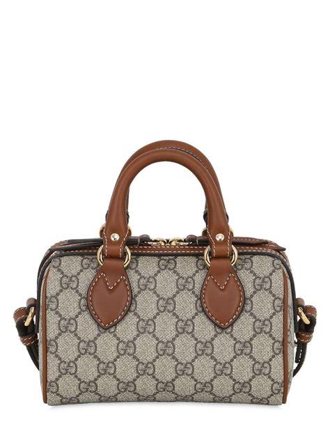 Gucci Gg Canvas Boston Mini gucci gg supreme mini boston canvas shoulder bag in brown