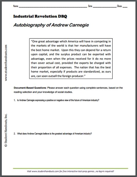 biography questions worksheet autobiography of andrew carnegie dbq worksheet student