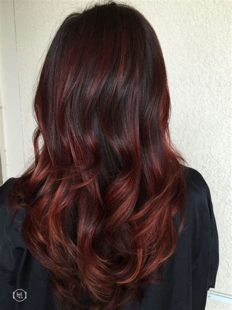 crimson obsession on dark brown hair 116 best hair design by emilio v hairlegacy inc miami
