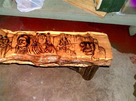 wildwood rustics red cedar half log bench red cedar rustic half log bench with native american woodburn by danaa1972
