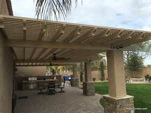 custom alumawood patio cover with outdoor fans in gilbert