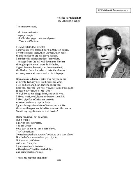 themes for english b by langston hughes analysis its not easy to know what is true for you or me theme for