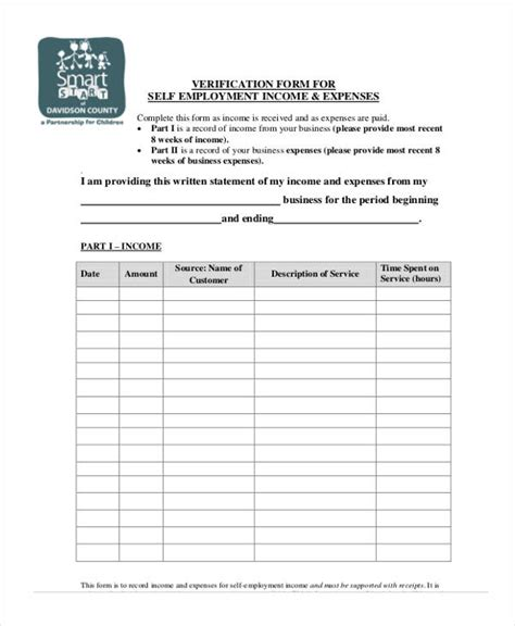 Verification Form Templates Proof Of Income For Self Employed Template
