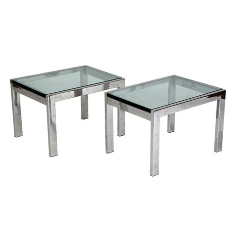 glass and chrome sofa table pair of chrome and glass sofa side tables at 1stdibs