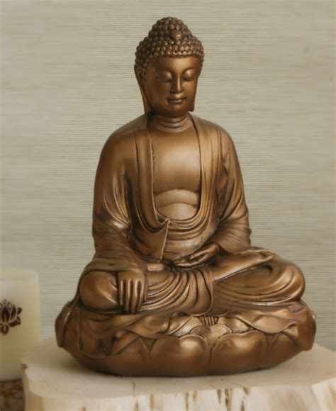 Buddhist Home Decor bronze colored buddha statue in earth touching pose