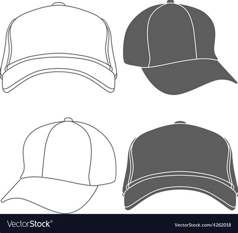 Baseball Cap Outline Silhouette Template Isolated Vector Image Hat Template Illustrator