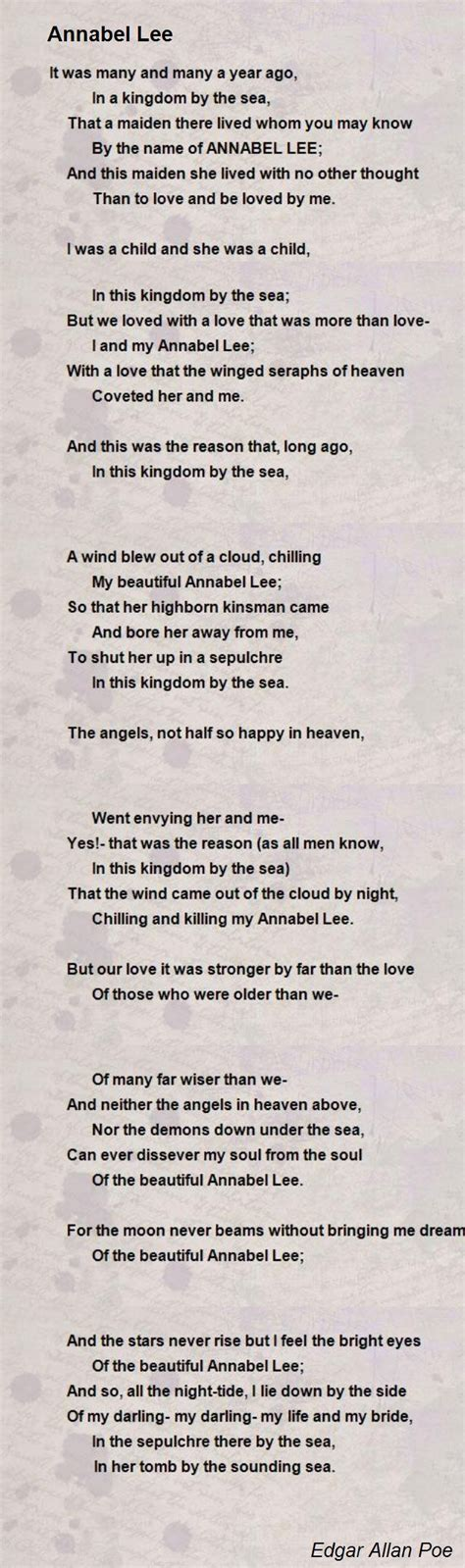 annabel lee by edgar allan poe annabel lee poem by edgar allan poe poem hunter