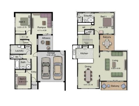 inverted living duplex small house design floor plans with 3 and 4 bedrooms