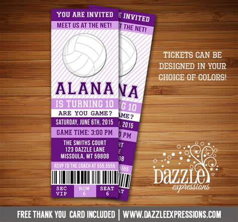 free printable volleyball birthday cards printable volleyball ticket birthday invitation sports