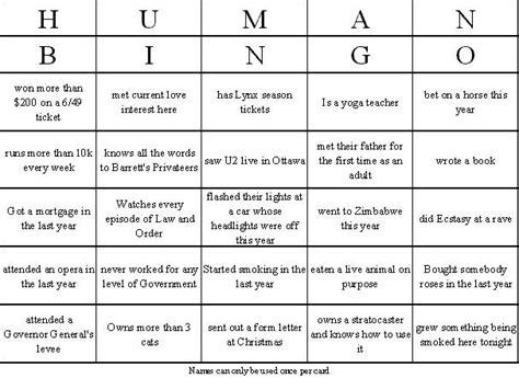 Human Bingo Card Template by Sle Human Bingo Card Breakers Human