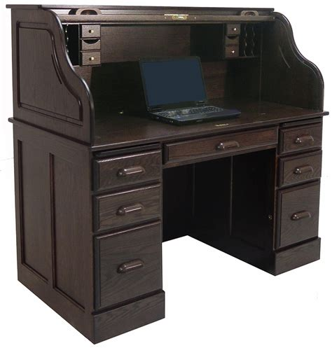 54 quot w deluxe solid oak laptop roll top desk