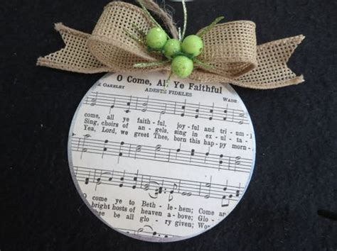 christian christmas ornament hymns on galvanized by