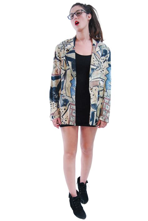mix color abstract print vintage jacket for 1970s