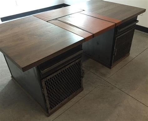 industrial modern desk modern industrial desk with custom leather signature pad