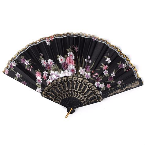 Handmade Fans For Weddings - handmade vintage folding bamboo silk flower