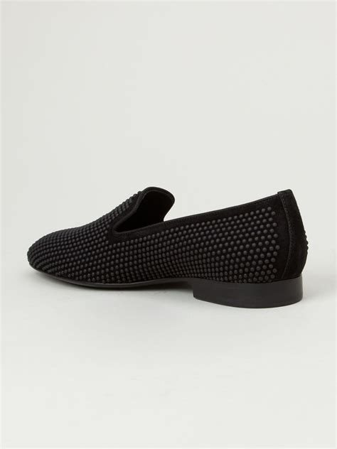 studded black loafers louis leeman studded loafers in black for lyst