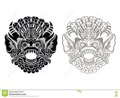 mythological gods masks balinese style barong stock