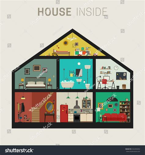 rooms in house house inside interior vector flat house stock vector