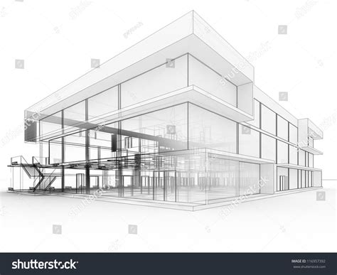 blueprint design modern office building architects stock illustration 116957392
