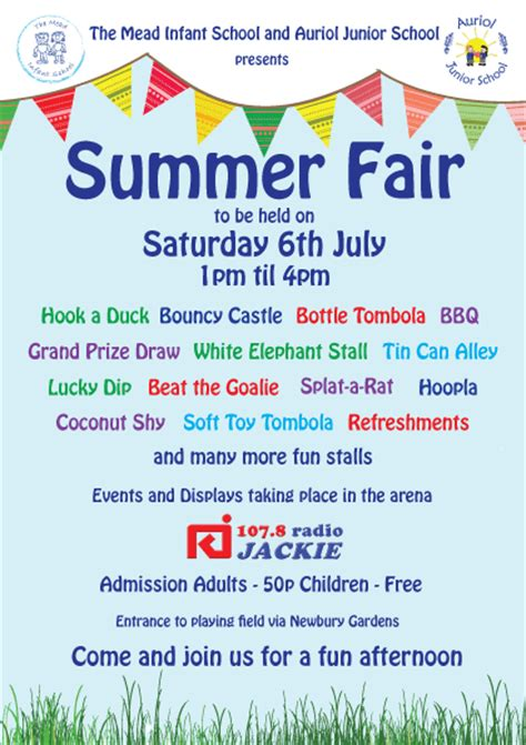 summer fair flyer template the mead and auriol summer fair the mead infant school