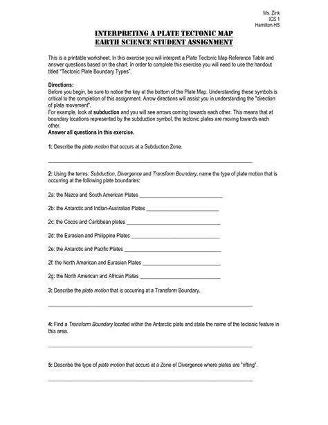 Plate Boundaries Worksheet Answers by Types Of Plate Boundaries Worksheet Www Imgkid The