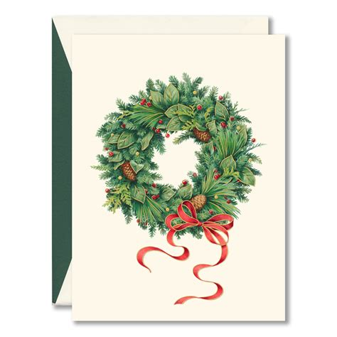 holiday wreath boxed christmas cards